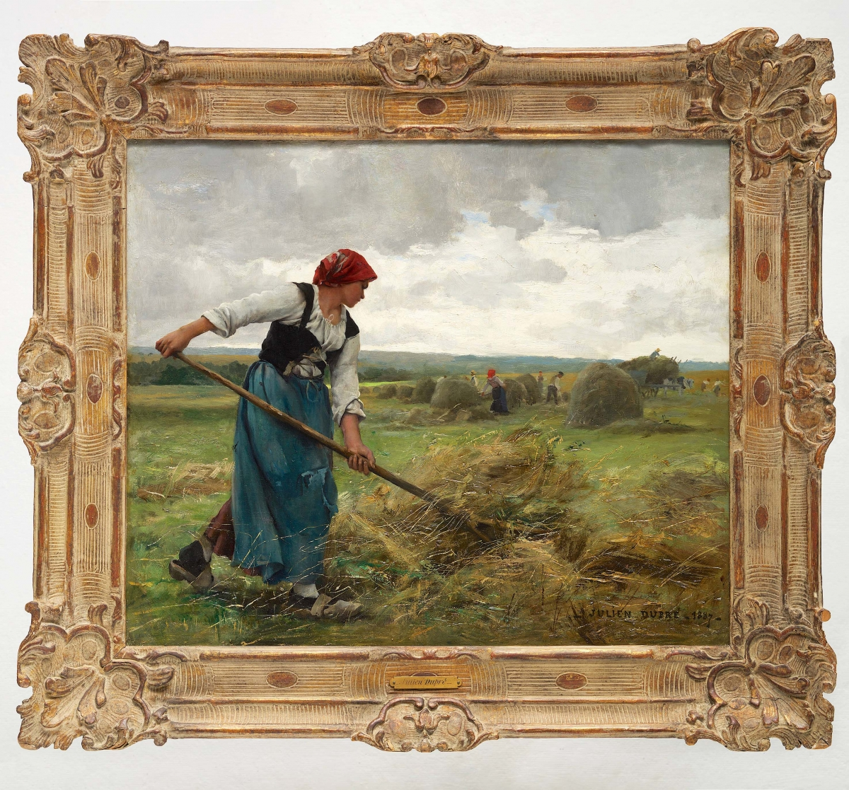 "JULIEN DUPRÉ (1851–1910); La moisson; signed and dated ""Julien Dupré. 1887""; oil on canvas; 21 x 25 in., 1887"