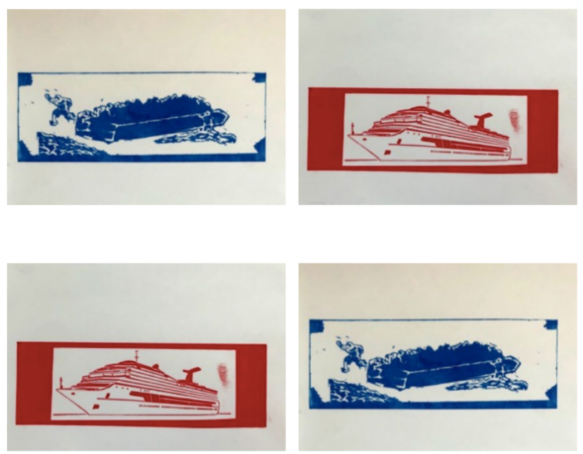 Photo of color prints of boats