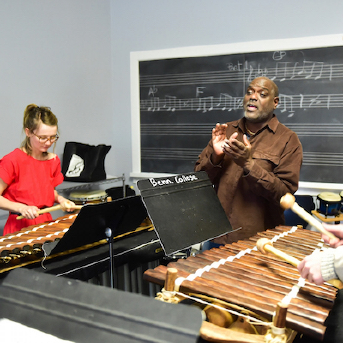 Michael Wimberly teaching a percussion class