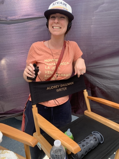 Photo of Audrey Shulman '09 on set of Love, Fall & Order